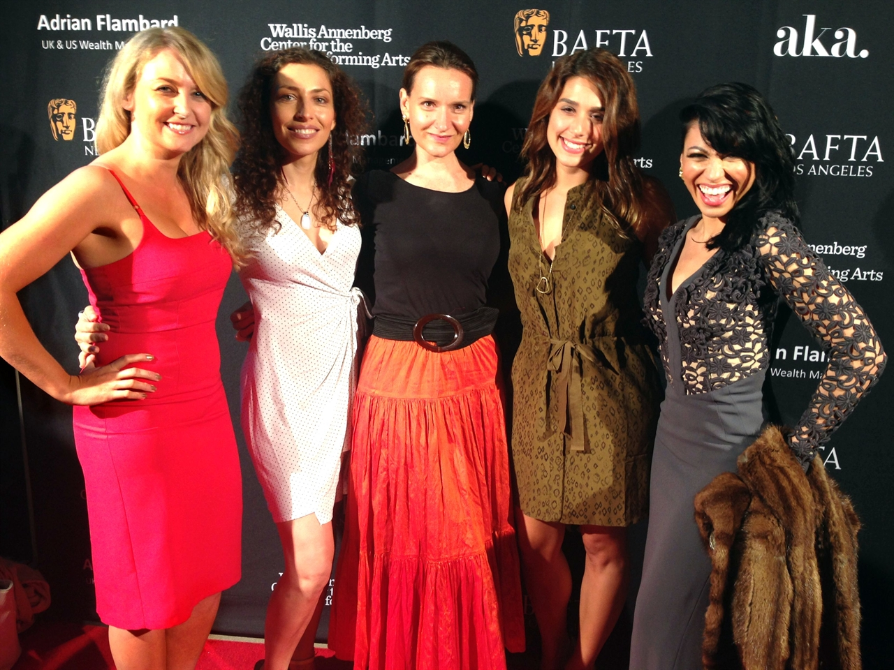 Janine with Sandra De Sousa and Vanessa Born - Ray Donovan (far left) at BAFTA Film Awards 2015