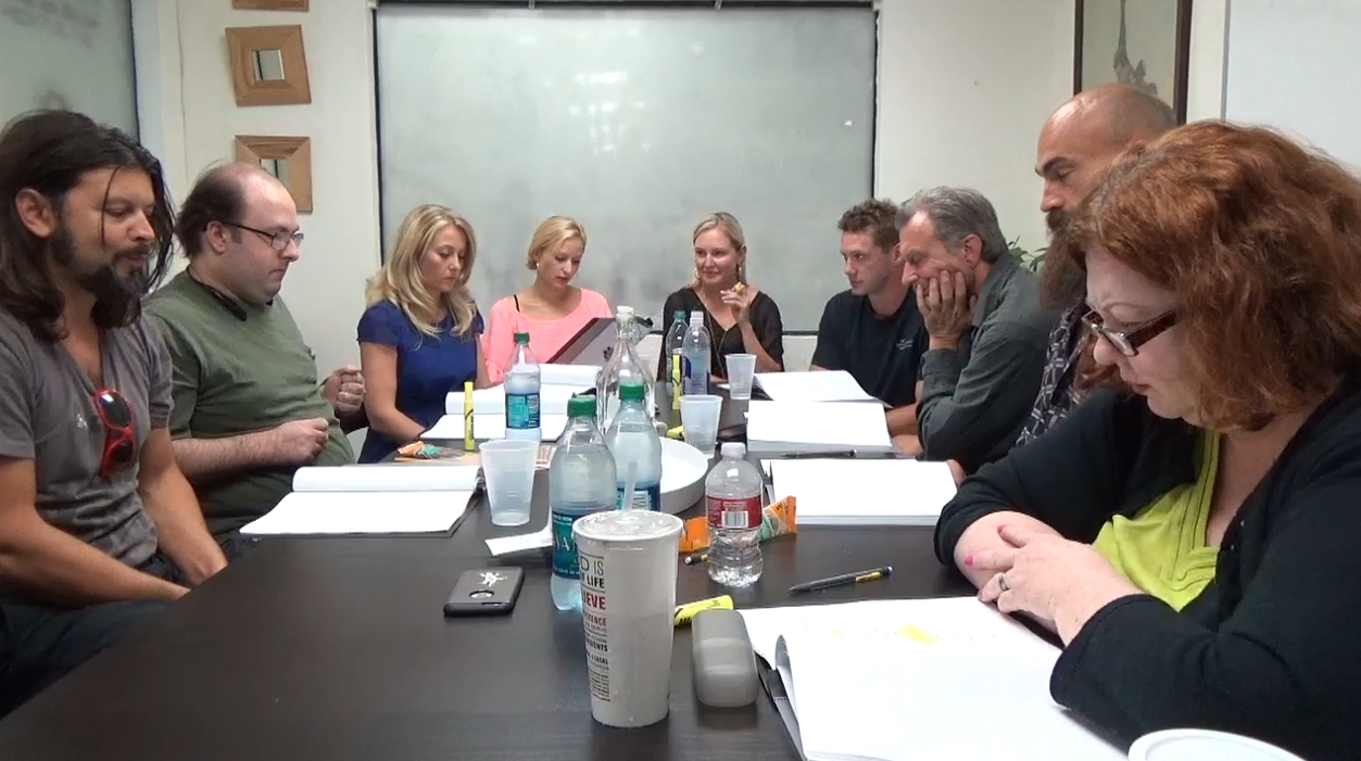 TABLE READ for F***, Marry, Kill. Janine plays female lead, Tiffany Forbes.