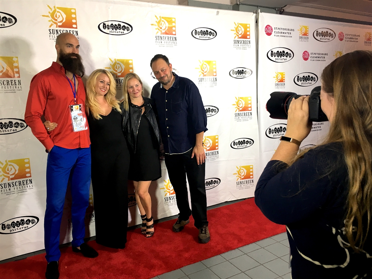 Janine with director Scott Donovan, producer and actress Rachel Ryling and actor Paul Duke at Sunscreen Film Festival