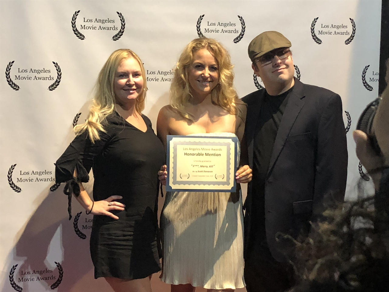 Janine with fellow producer/ actress Rachel Ryling and actor Christopher Tenney for F***, Marry Kill at LA Movie Awards in Sept' 2018