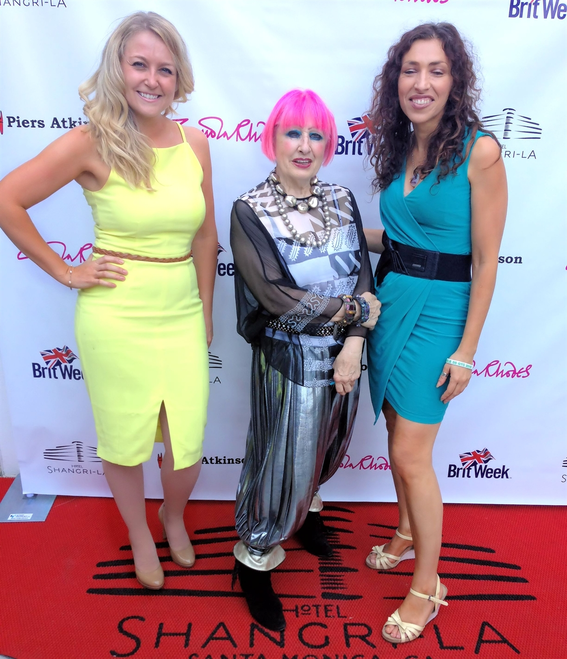Janine Gateland with British Designer Zanola Rhodes and Sandra de Sousa attends Brit Week at Hotel Shangrila taking place in LA.